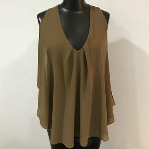 Michelle Nicole Sheer Overlay Tank Top Blouse